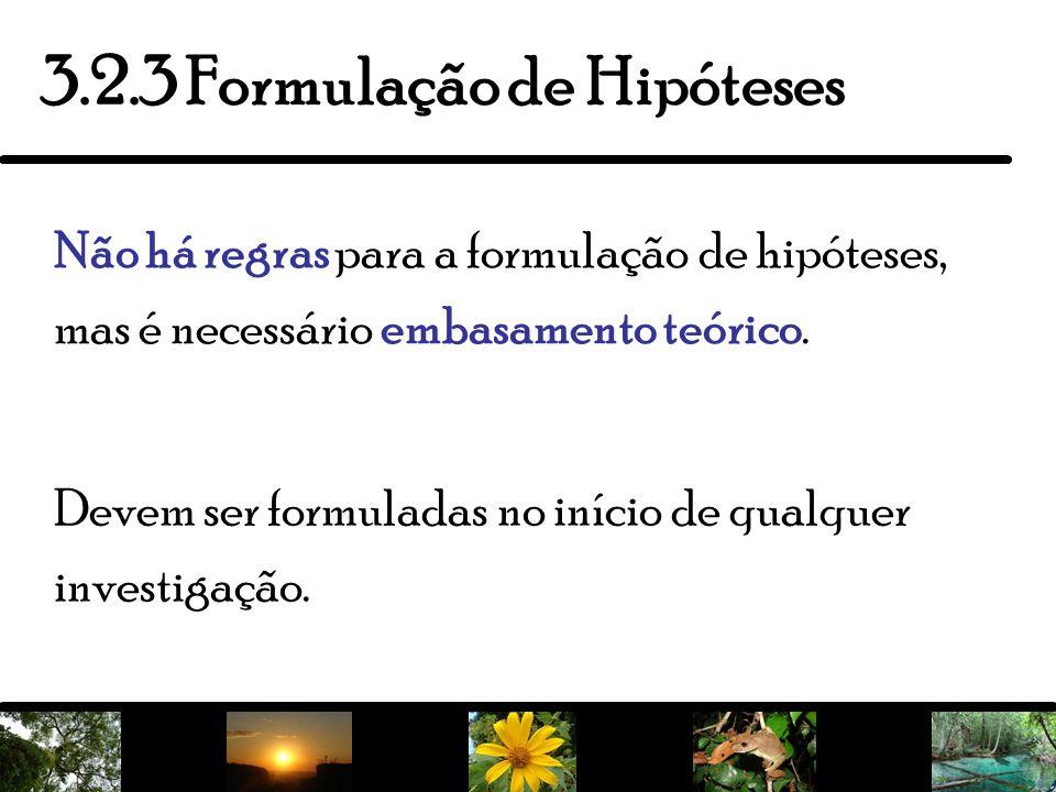 4 Devem ser formuladas no início de qualquer investigação. 3.2.3 Formulação de Hipóteses Não há regras para a formulação de hipóteses, mas é necessári