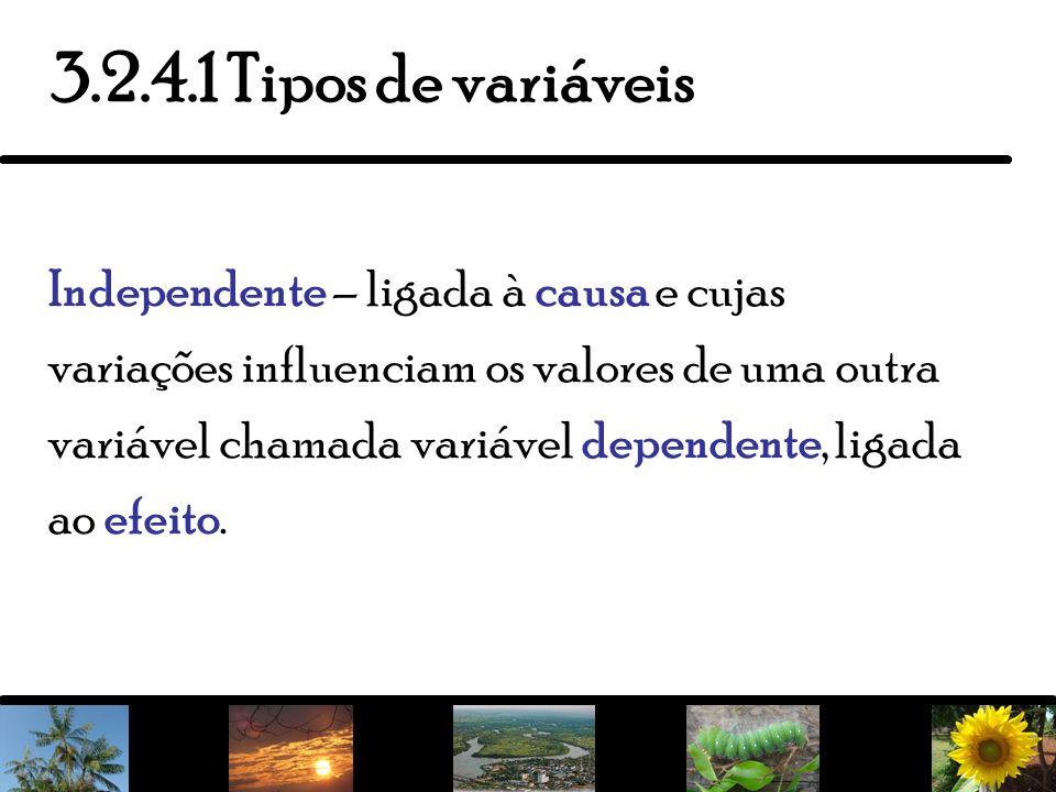 9 Independente – ligada à causa e cujas variações influenciam os valores de uma outra variável chamada variável dependente, ligada ao efeito. 3.2.4.1