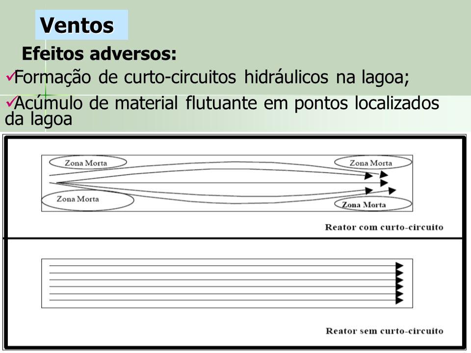 Efeitos adversos: Ventos Formação de curto-circuitos hidráulicos na lagoa; Acúmulo de material flutuante em pontos localizados da lagoa