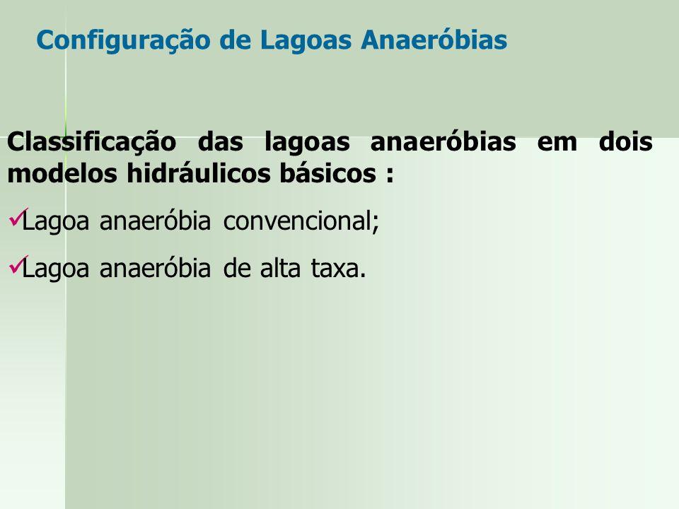 Classificação das lagoas anaeróbias em dois modelos hidráulicos básicos : Lagoa anaeróbia convencional; Lagoa anaeróbia de alta taxa. Configuração de