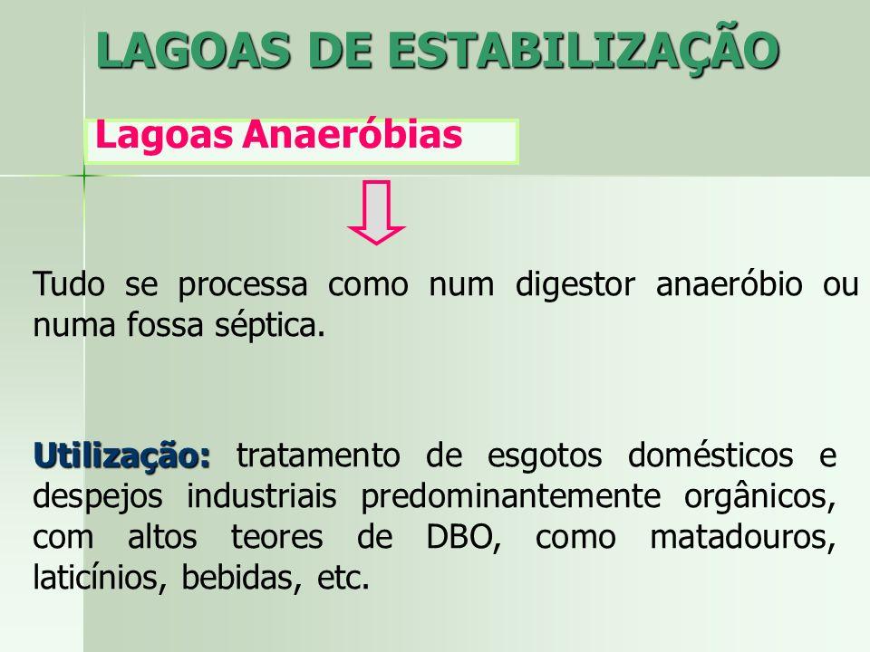 LAGOAS DE ESTABILIZAÇÃO Lagoas Anaeróbias Descrição do Processo Conversão anaeróbia é um processo sequêncial: Se desenvolve em duas etapas: Liquefaçãoe formação de ácidos Liquefação e formação de ácidos (através das bactérias acidogênicas) ; e Formação de metano Formação de metano (através das bactérias metanogênicas).