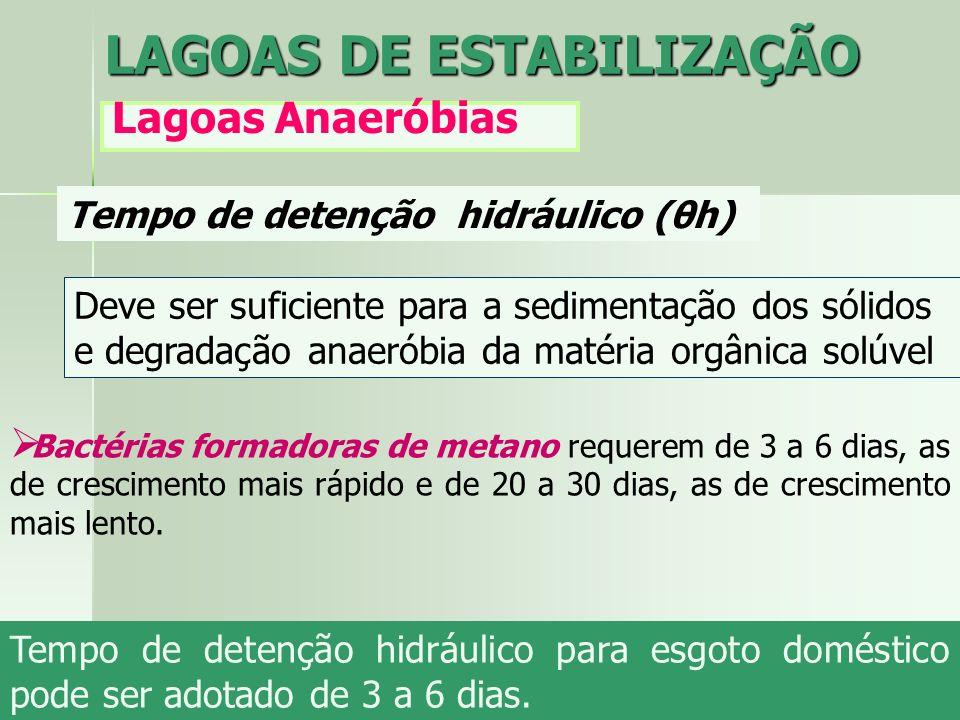 Tempo de detenção hidráulico (θh) Deve ser suficiente para a sedimentação dos sólidos e degradação anaeróbia da matéria orgânica solúvel LAGOAS DE EST