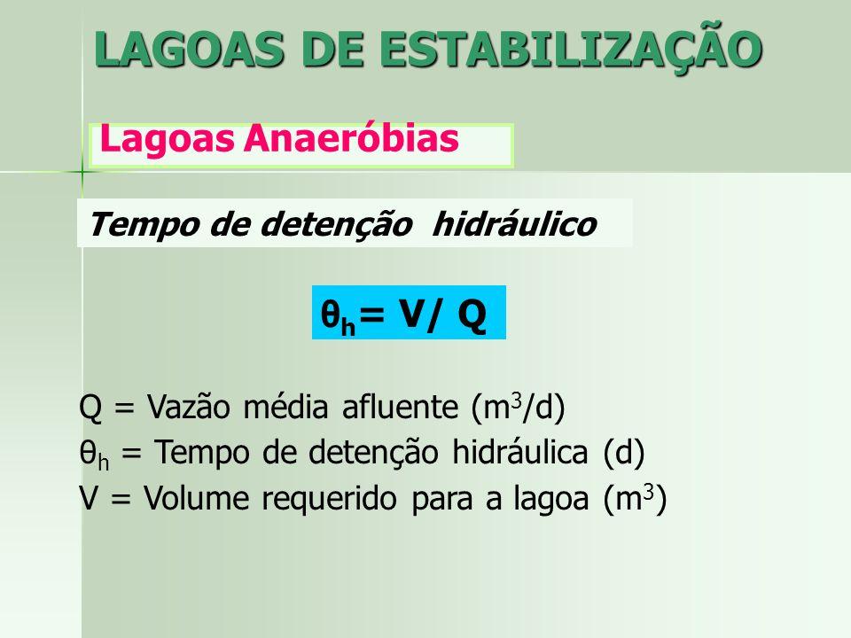 Q = Vazão média afluente (m 3 /d) θ h = Tempo de detenção hidráulica (d) V = Volume requerido para a lagoa (m 3 ) θ h = V/ Q Tempo de detenção hidrául