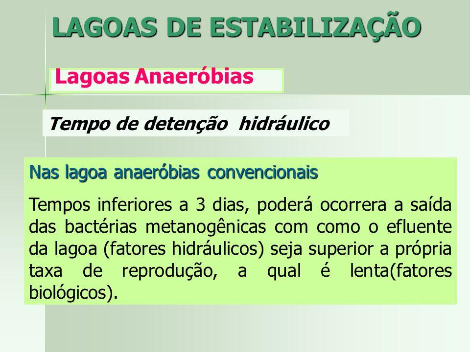 Tempo de detenção hidráulico LAGOAS DE ESTABILIZAÇÃO Lagoas Anaeróbias Nas lagoa anaeróbias convencionais Tempos inferiores a 3 dias, poderá ocorrera