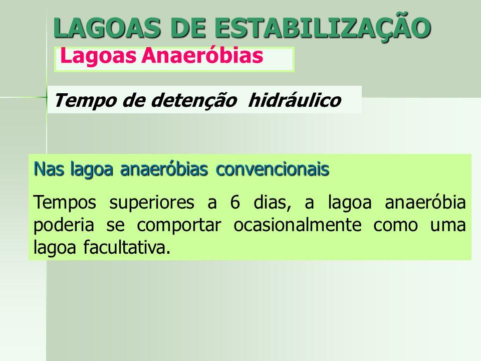 Tempo de detenção hidráulico LAGOAS DE ESTABILIZAÇÃO Lagoas Anaeróbias Nas lagoa anaeróbias convencionais Tempos superiores a 6 dias, a lagoa anaeróbi