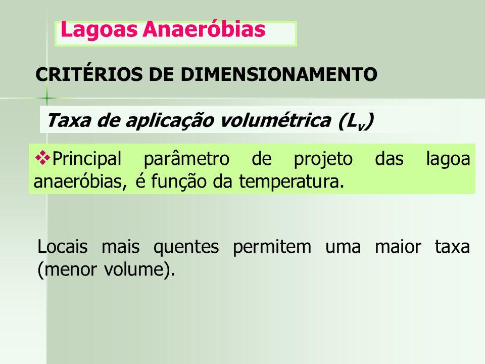 CRITÉRIOS DE DIMENSIONAMENTO Lagoas Anaeróbias Taxa de aplicação volumétrica (L v ) Principal parâmetro de projeto das lagoa anaeróbias, é função da t