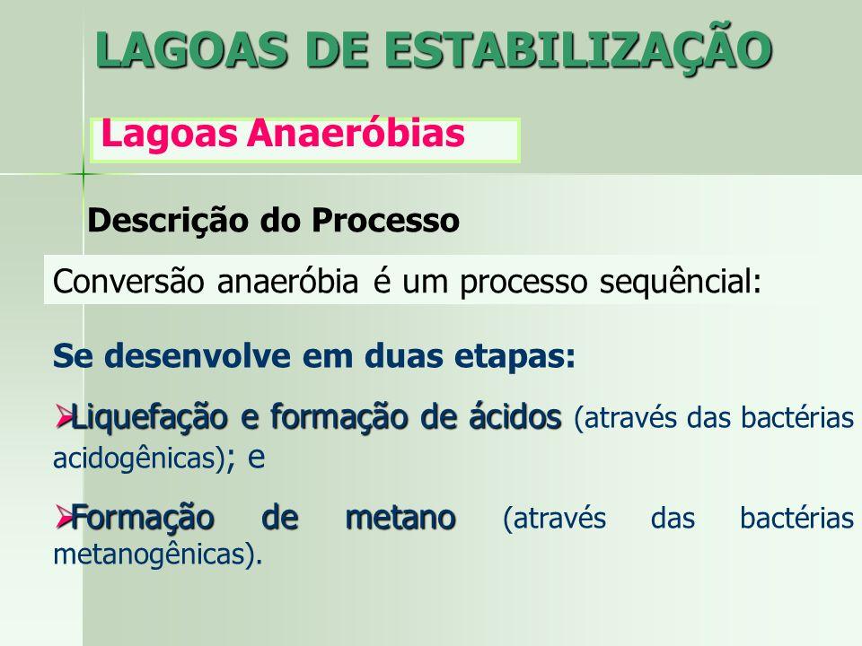 LAGOAS DE ESTABILIZAÇÃO Lagoas Anaeróbias Descrição do Processo Conversão anaeróbia é um processo sequêncial: Se desenvolve em duas etapas: Liquefação
