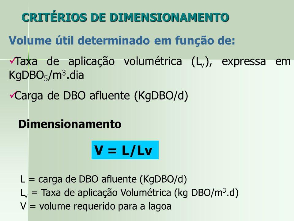 Volume útil determinado em função de: Taxa de aplicação volumétrica (L v ), expressa em KgDBO 5 /m 3.dia Carga de DBO afluente (KgDBO/d) CRITÉRIOS DE