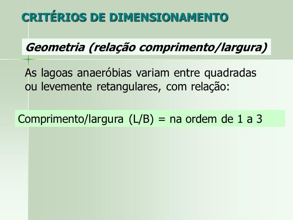 Geometria (relação comprimento/largura) Comprimento/largura (L/B) = na ordem de 1 a 3 CRITÉRIOS DE DIMENSIONAMENTO As lagoas anaeróbias variam entre q