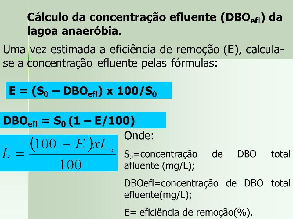 Cálculo da concentração efluente (DBO efl ) da lagoa anaeróbia. Uma vez estimada a eficiência de remoção (E), calcula- se a concentração efluente pela