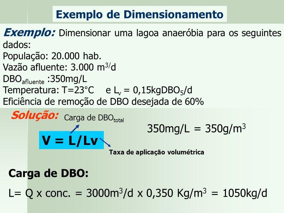Exemplo de Dimensionamento Exemplo: Dimensionar uma lagoa anaeróbia para os seguintes dados: População: 20.000 hab. Vazão afluente: 3.000 m 3/ d DBO a