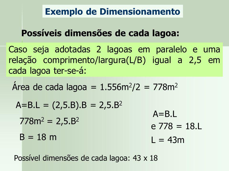 Exemplo de Dimensionamento Possíveis dimensões de cada lagoa: Caso seja adotadas 2 lagoas em paralelo e uma relação comprimento/largura(L/B) igual a 2