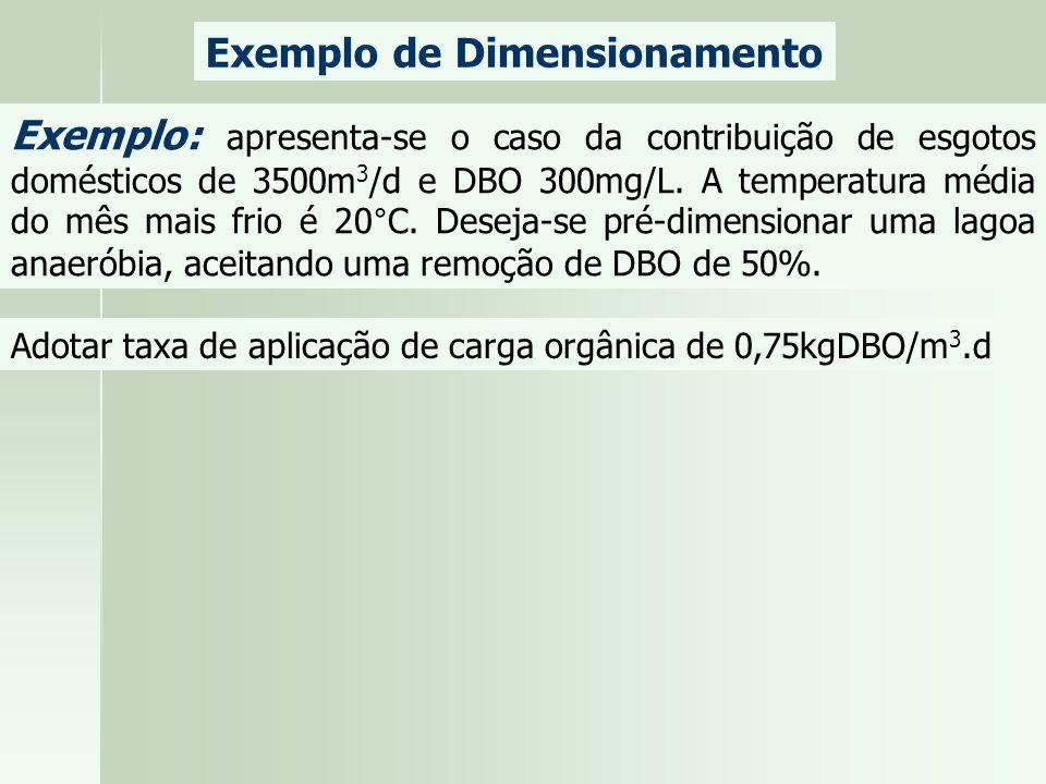 Exemplo de Dimensionamento Exemplo: apresenta-se o caso da contribuição de esgotos domésticos de 3500m 3 /d e DBO 300mg/L. A temperatura média do mês
