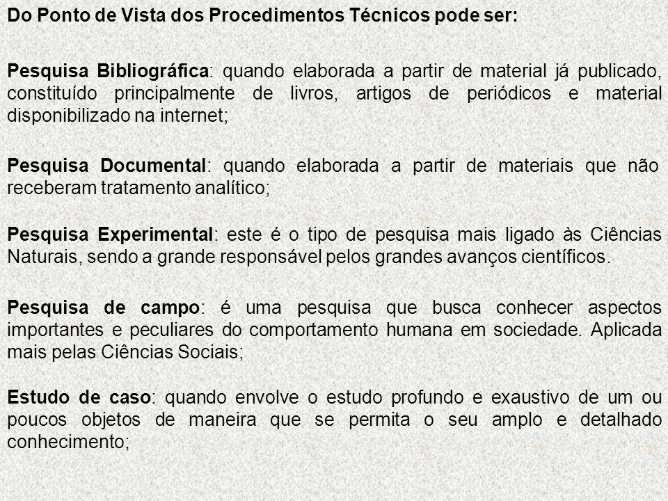 Do Ponto de Vista dos Procedimentos Técnicos pode ser: Pesquisa Bibliográfica: quando elaborada a partir de material já publicado, constituído princip