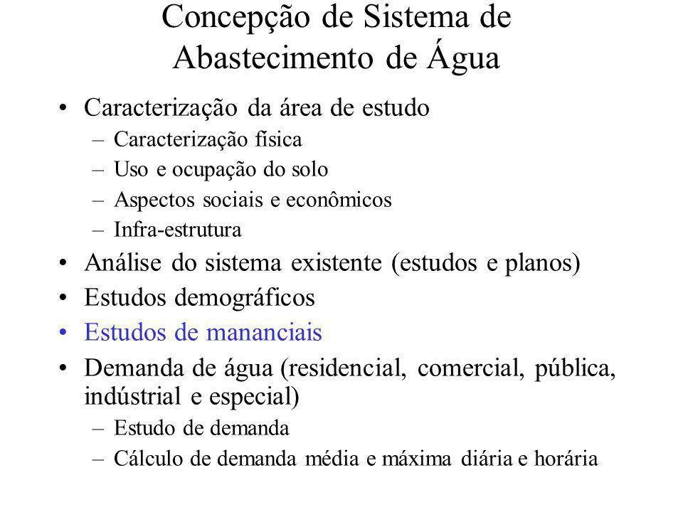 Concepção de Sistema de Abastecimento de Água Caracterização da área de estudo –Caracterização física –Uso e ocupação do solo –Aspectos sociais e econ