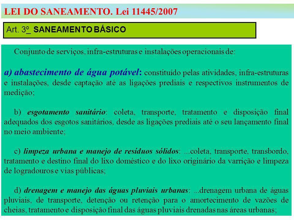 Art. 3º SANEAMENTO BÁSICO LEI DO SANEAMENTO. Lei 11445/2007 Conjunto de serviços, infra-estruturas e instalações operacionais de: a)abastecimento de á