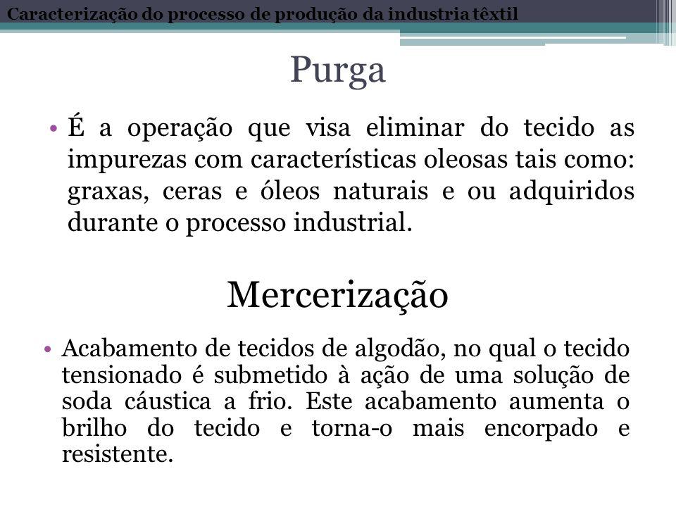 Purga É a operação que visa eliminar do tecido as impurezas com características oleosas tais como: graxas, ceras e óleos naturais e ou adquiridos dura