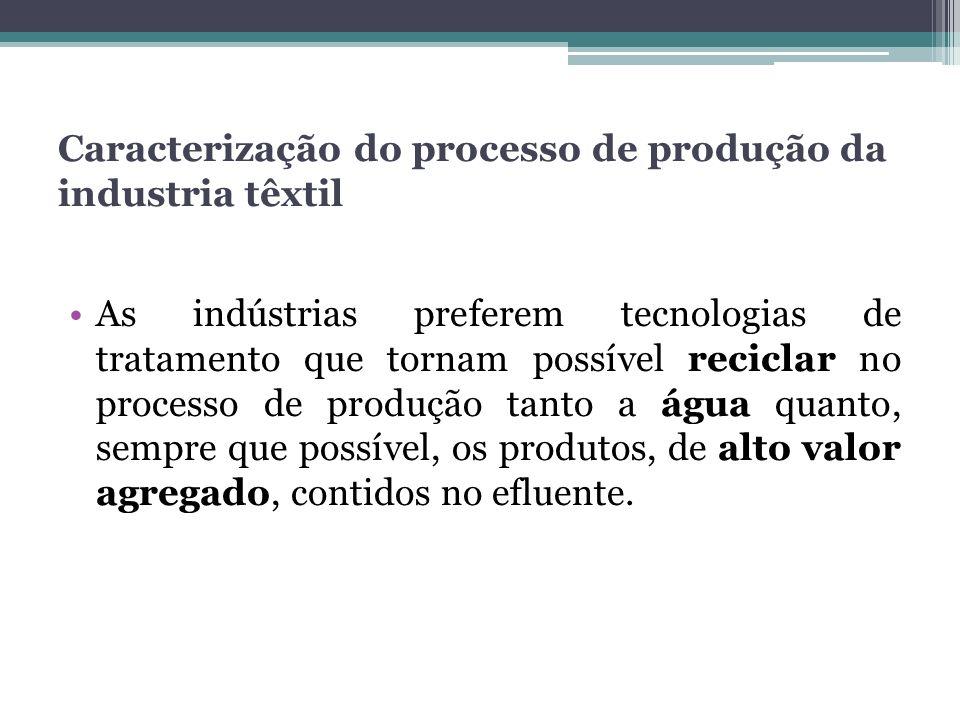As indústrias preferem tecnologias de tratamento que tornam possível reciclar no processo de produção tanto a água quanto, sempre que possível, os pro
