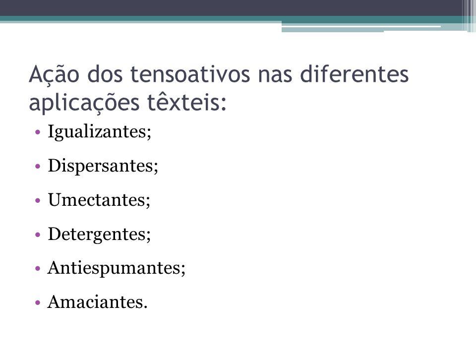 Ação dos tensoativos nas diferentes aplicações têxteis: Igualizantes; Dispersantes; Umectantes; Detergentes; Antiespumantes; Amaciantes.
