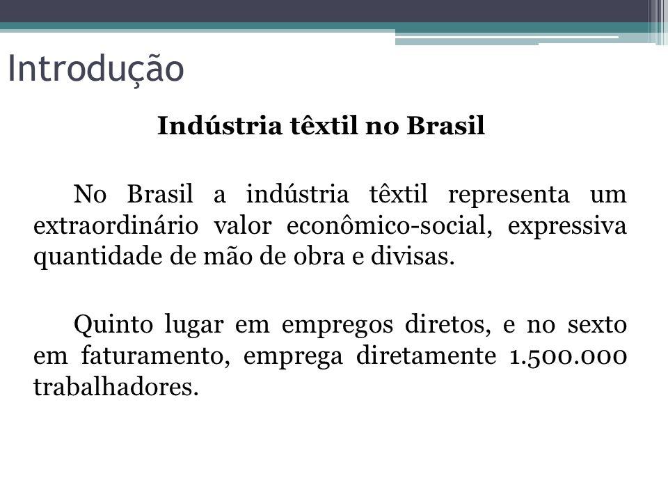 Introdução Indústria têxtil no Brasil No Brasil a indústria têxtil representa um extraordinário valor econômico-social, expressiva quantidade de mão d