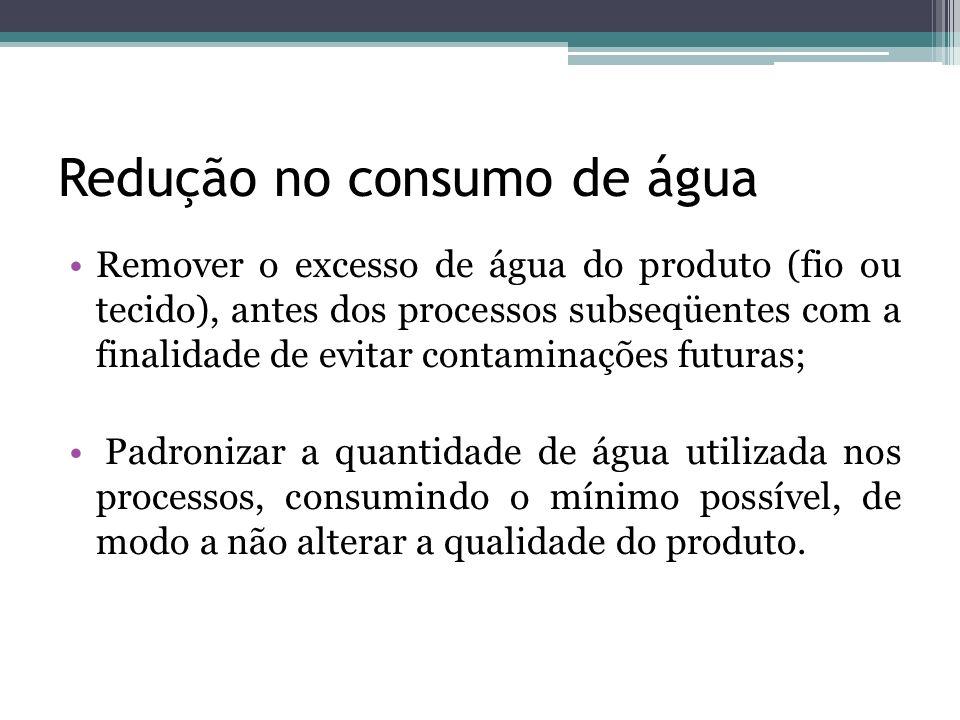 Redução no consumo de água Remover o excesso de água do produto (fio ou tecido), antes dos processos subseqüentes com a finalidade de evitar contamina