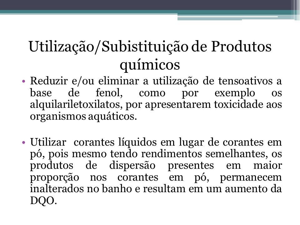 Utilização/Subistituição de Produtos químicos Reduzir e/ou eliminar a utilização de tensoativos a base de fenol, como por exemplo os alquilariletoxila
