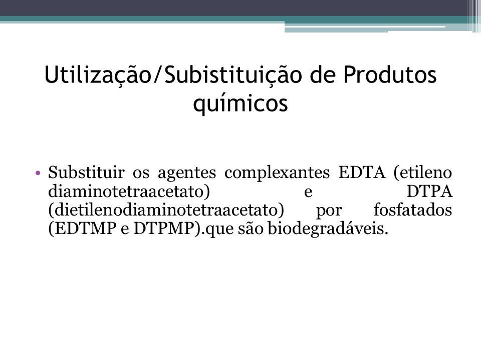 Utilização/Subistituição de Produtos químicos Substituir os agentes complexantes EDTA (etileno diaminotetraacetato) e DTPA (dietilenodiaminotetraaceta