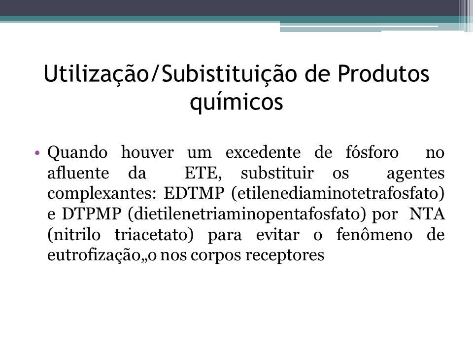 Utilização/Subistituição de Produtos químicos Quando houver um excedente de fósforo no afluente da ETE, substituir os agentes complexantes: EDTMP (eti