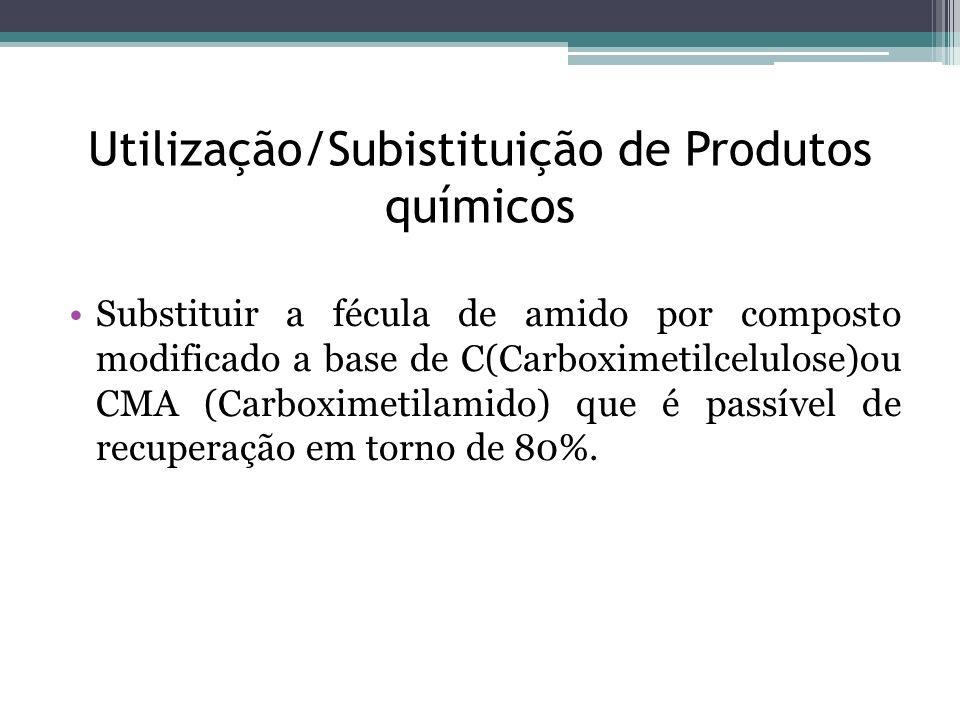 Utilização/Subistituição de Produtos químicos Substituir a fécula de amido por composto modificado a base de C(Carboximetilcelulose)ou CMA (Carboximet