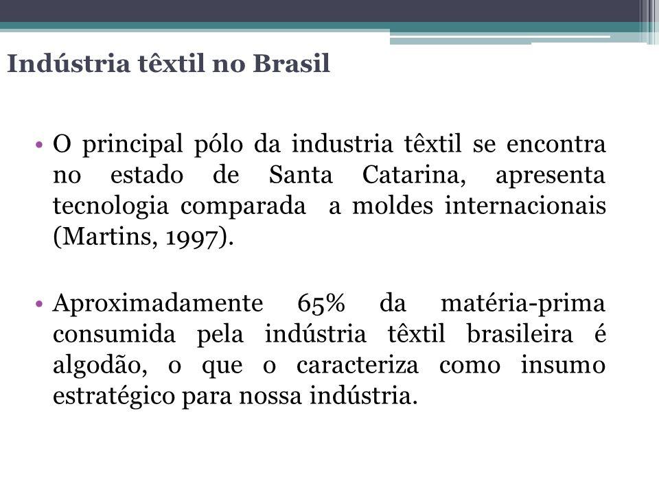 Indústria têxtil no Brasil O principal pólo da industria têxtil se encontra no estado de Santa Catarina, apresenta tecnologia comparada a moldes inter