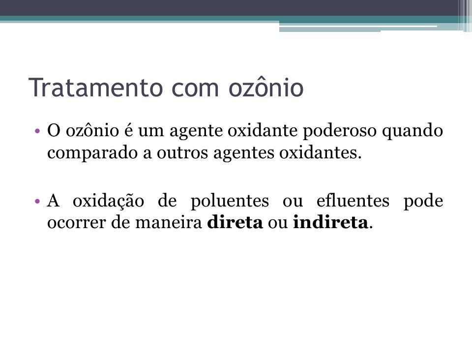 Tratamento com ozônio O ozônio é um agente oxidante poderoso quando comparado a outros agentes oxidantes. A oxidação de poluentes ou efluentes pode oc