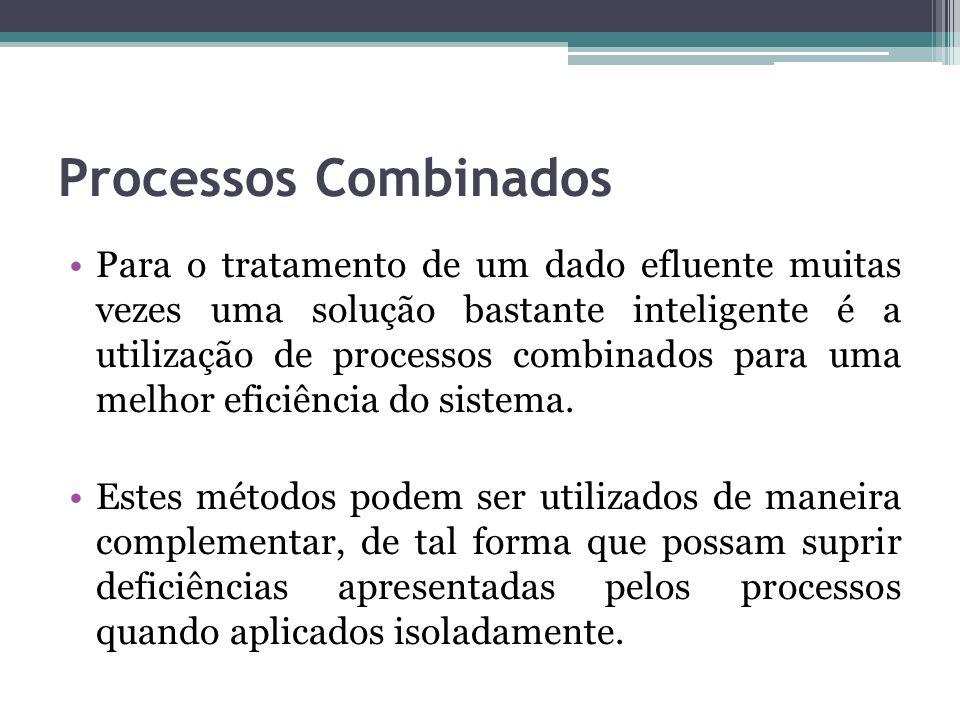 Processos Combinados Para o tratamento de um dado efluente muitas vezes uma solução bastante inteligente é a utilização de processos combinados para u