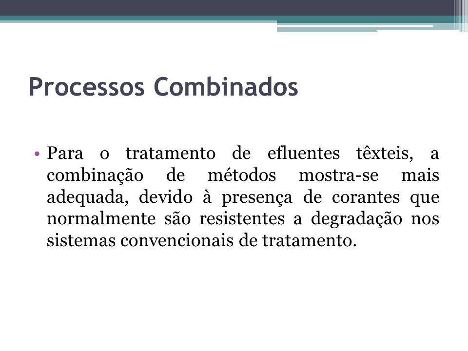 Processos Combinados Para o tratamento de efluentes têxteis, a combinação de métodos mostra-se mais adequada, devido à presença de corantes que normal