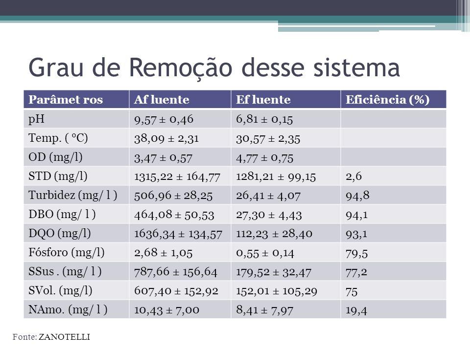 Grau de Remoção desse sistema Parâmet rosAf luenteEf luenteEficiência (%) pH9,57 ± 0,466,81 ± 0,15 Temp. ( °C)38,09 ± 2,3130,57 ± 2,35 OD (mg/l)3,47 ±