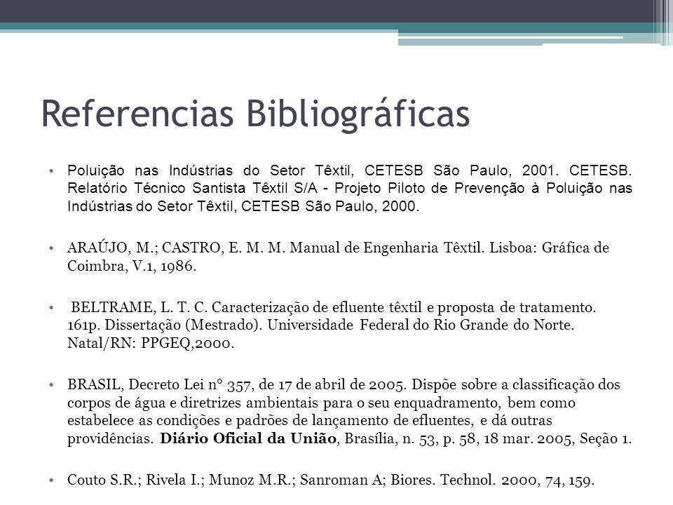 Referencias Bibliográficas Poluição nas Indústrias do Setor Têxtil, CETESB São Paulo, 2001. CETESB. Relatório Técnico Santista Têxtil S/A - Projeto Pi