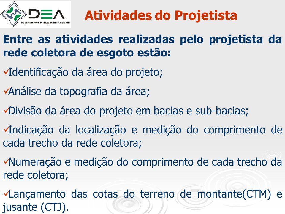 Atividades do Projetista Entre as atividades realizadas pelo projetista da rede coletora de esgoto estão: Identificação da área do projeto; Análise da