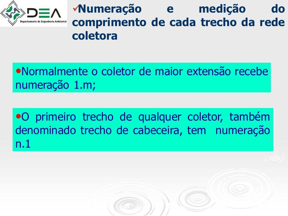 Normalmente o coletor de maior extensão recebe numeração 1.m; O primeiro trecho de qualquer coletor, também denominado trecho de cabeceira, tem numera