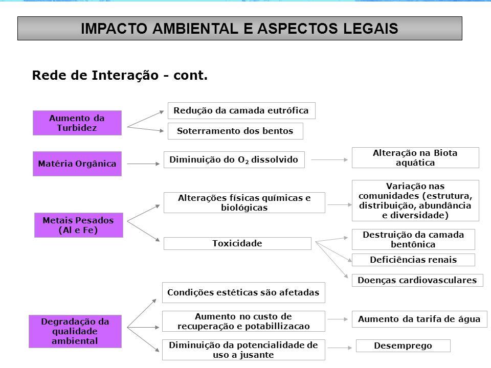 Rede de Interação - cont. Aumento da Turbidez Matéria Orgânica Metais Pesados (Al e Fe) Degradação da qualidade ambiental Redução da camada eutrófica