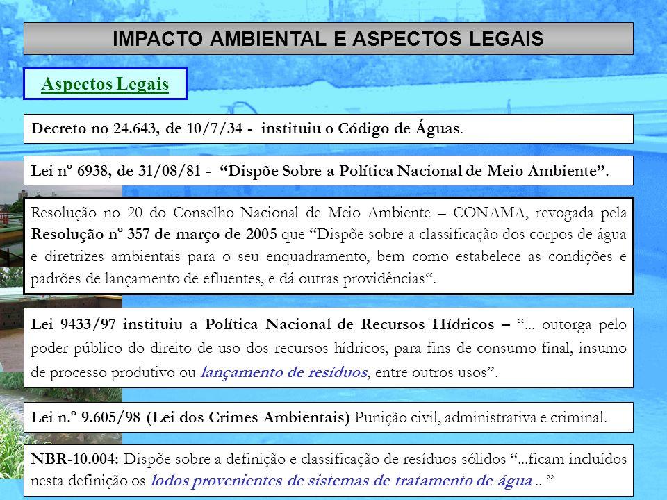 Decreto no 24.643, de 10/7/34 - instituiu o Código de Águas. IMPACTO AMBIENTAL E ASPECTOS LEGAIS Aspectos Legais Lei nº 6938, de 31/08/81 - Dispõe Sob