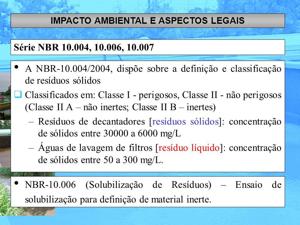 Série NBR 10.004, 10.006, 10.007 IMPACTO AMBIENTAL E ASPECTOS LEGAIS A NBR-10.004/2004, dispõe sobre a definição e classificação de resíduos sólidos C