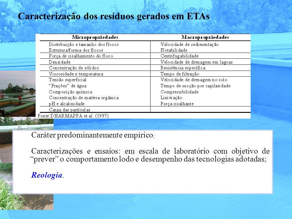 Caracterização dos resíduos gerados em ETAs Caráter predominantemente empírico ; Caracterizações e ensaios: em escala de laboratório com objetivo de p