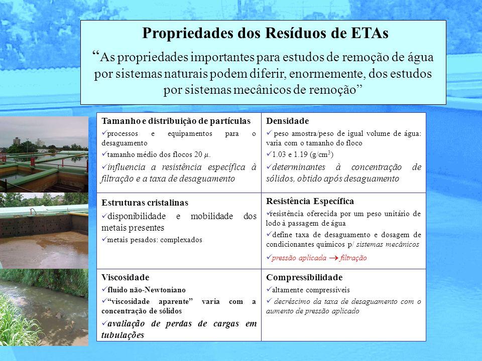 Propriedades dos Resíduos de ETAs As propriedades importantes para estudos de remoção de água por sistemas naturais podem diferir, enormemente, dos es