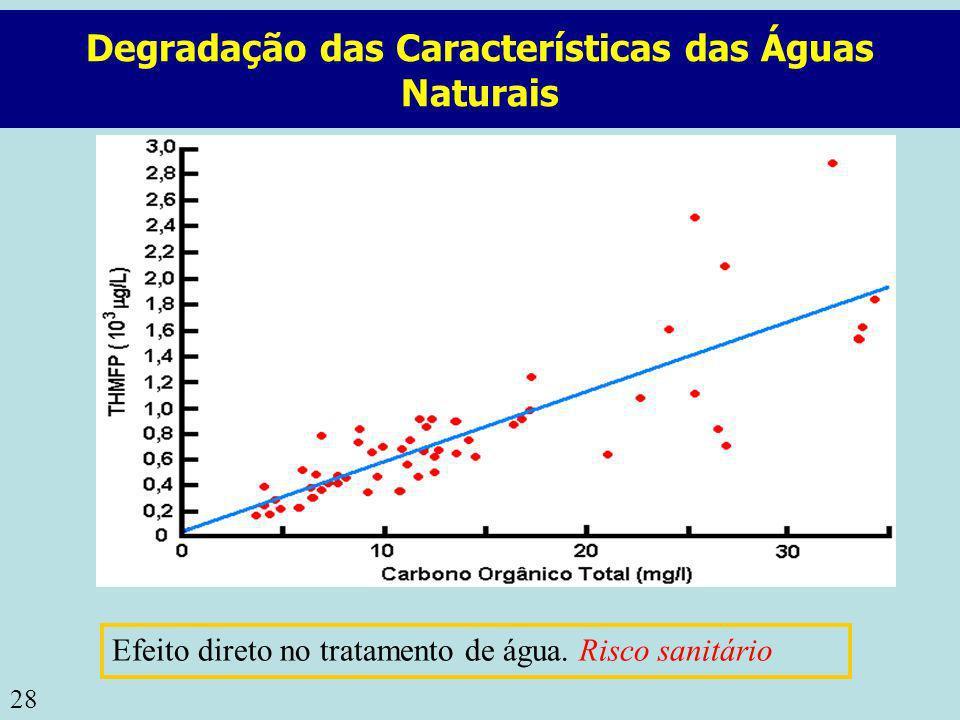28 Degradação das Características das Águas Naturais Efeito direto no tratamento de água. Risco sanitário