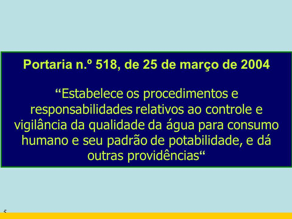 5 Portaria n.º 518, de 25 de março de 2004 Estabelece os procedimentos e responsabilidades relativos ao controle e vigilância da qualidade da água par