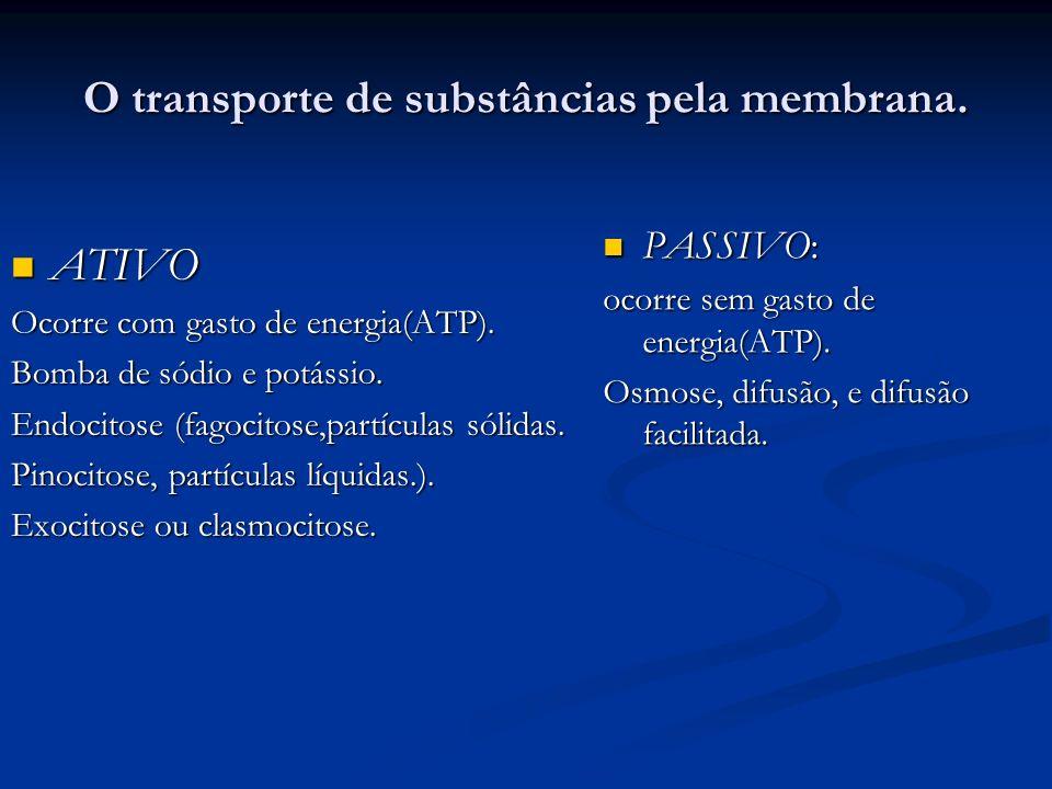 O transporte de substâncias pela membrana. PASSIVO: PASSIVO: ocorre sem gasto de energia(ATP). Osmose, difusão, e difusão facilitada. ATIVO Ocorre com