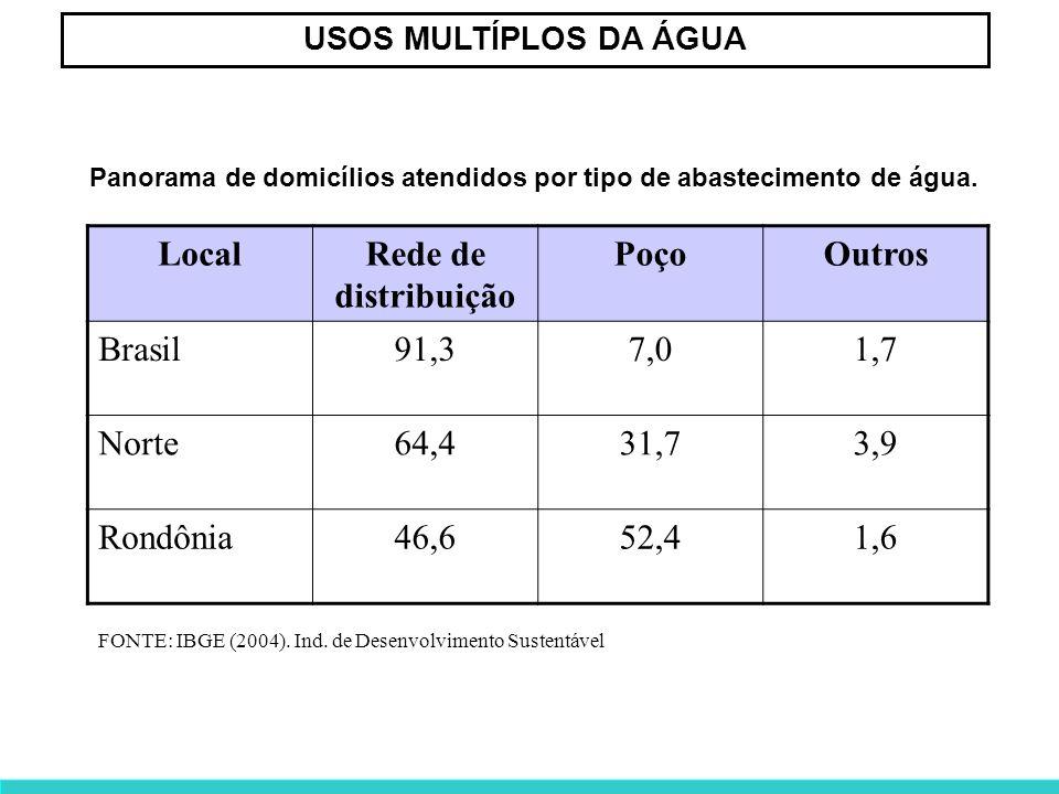 USOS MULTÍPLOS DA ÁGUA FONTE: IBGE (2004). Ind. de Desenvolvimento Sustentável LocalRede de distribuição PoçoOutros Brasil91,37,01,7 Norte64,431,73,9