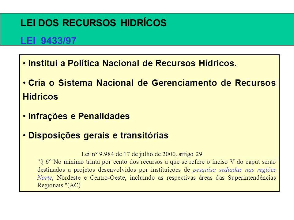 LEI DOS RECURSOS HIDRÍCOS LEI 9433/97 Institui a Política Nacional de Recursos Hídricos. Cria o Sistema Nacional de Gerenciamento de Recursos Hídricos