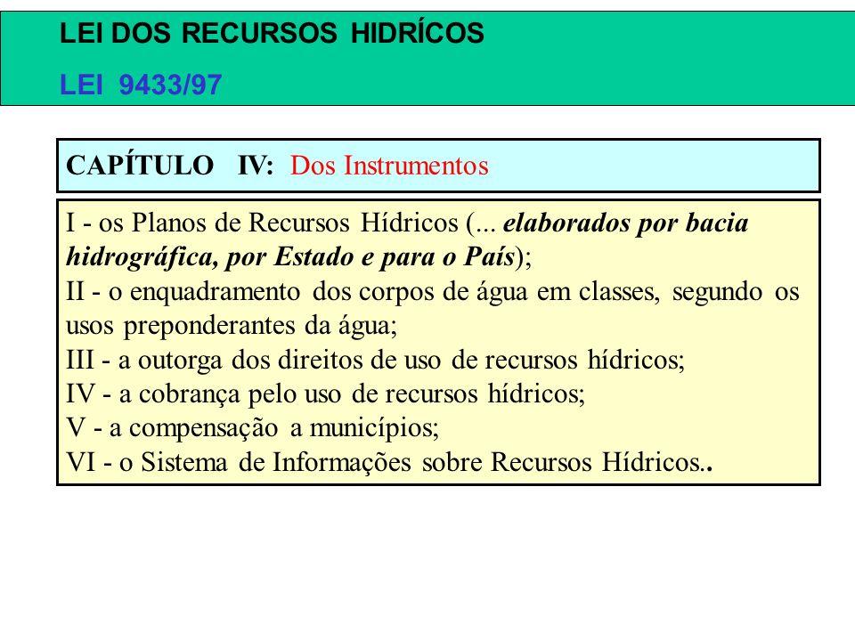 I - os Planos de Recursos Hídricos (... elaborados por bacia hidrográfica, por Estado e para o País); II - o enquadramento dos corpos de água em class