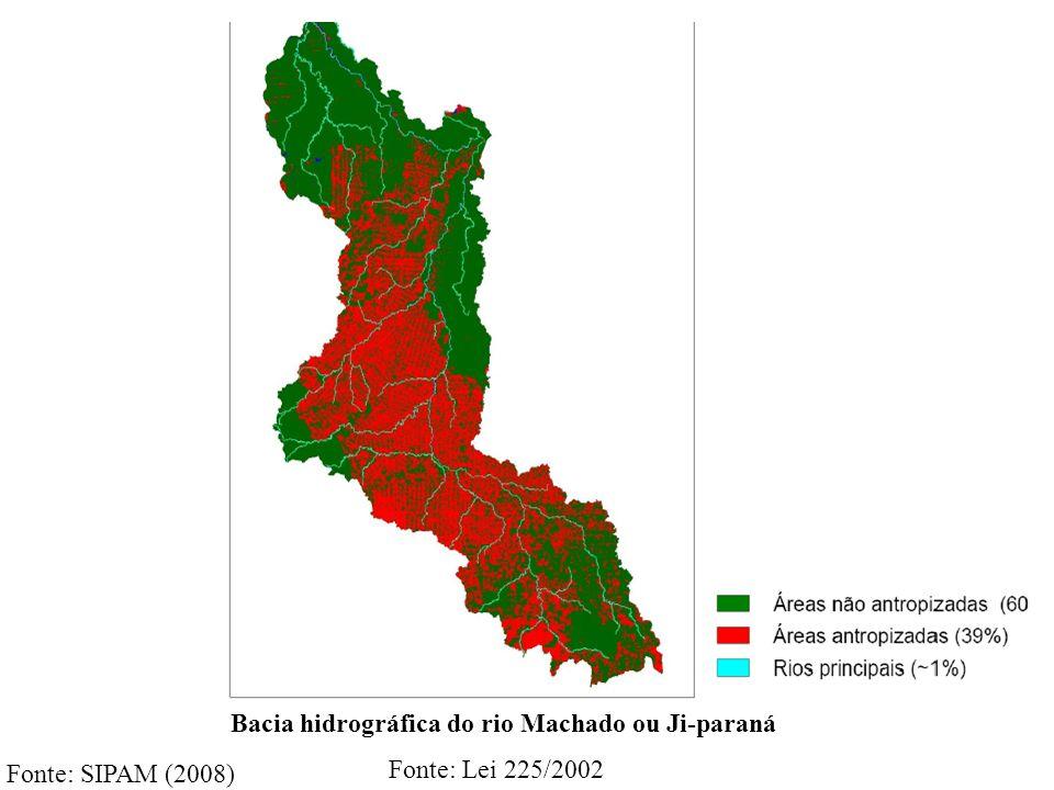Fonte: SIPAM (2008) Bacia hidrográfica do rio Machado ou Ji-paraná Fonte: Lei 225/2002