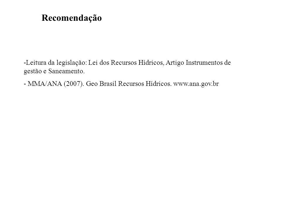 -Leitura da legislação: Lei dos Recursos Hídricos, Artigo Instrumentos de gestão e Saneamento. - MMA/ANA (2007). Geo Brasil Recursos Hídricos. www.ana